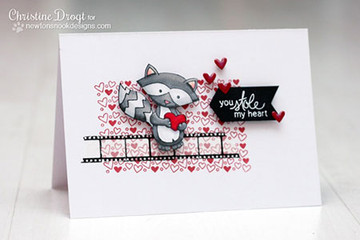 Raccoon Love Card made using Sweetheart Tails Stamp Set by Newton's Nook Designs