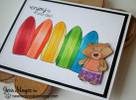 Bear surf board card made with Beach Party stamp set from Newton's Nook Designs