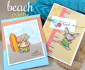 Summer Beach cards made with Beach Party stamp set from Newton's Nook Designs