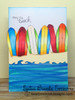 Surf board card made with Beach Party stamp set from Newton's Nook Designs
