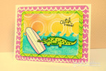 Alligator surf board card made with Beach Party stamp set from Newton's Nook Designs