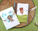 Monkey and Cat cards | Hanging Around stamp set by Newton's Nook Designs