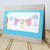 Baby clothes on line Card | Winged Wishes Stamp Set by Newton's Nook Designs
