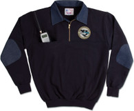 8020-D: Defender 1/4 Zip Job Shirt with Denim Collar by Game