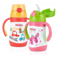 Nuby - Insulated Stainless Steel Flip-It Straw Bottle, 280ml (2 Colours)