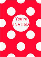 DOTS RED 8 INVITATIONS