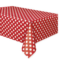 DOTS RED PLASTIC TABLECOVER