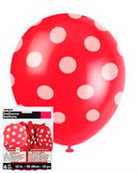 "DOTS RED 6 x 30cm (12"") BALLOONS"