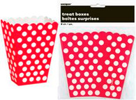 "DOTS RED 8 TREAT BOXES 14cm H x 9.5cm W (5.5""x3.75"")"
