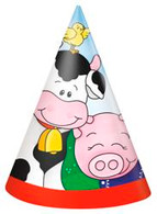 FARM FRIENDS 8 PARTY HATS