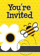 BUSY BEES 8 INVITATIONS