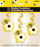 "BUSY BEES 3 HANGING SWIRL DECORATIONS 90cm L (36"")"