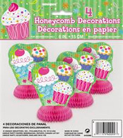 CUPCAKE 4 MINI HONEYCOMB DECORATIONS