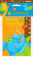 JUNGLE PARTY 8 INVITATIONS