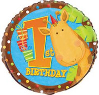"""JUNGLE PARTY 1st BIRTHDAY 45cm (18"""") FOIL BALLOON PACKAGED"""