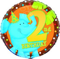 "JUNGLE PARTY 2nd BIRTHDAY 45cm (18"") FOIL BALLOON PACKAGED"