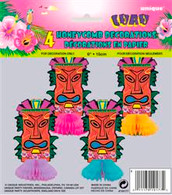 LUAU 4 MINI TOTEM HONEYCOMBS DECORATION