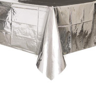"METALLIC SILVER PLASTIC TABLECOVER RECTANGLE 137cm X 274cm (54"" X 108"")"