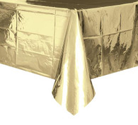 "METALLIC GOLD PLASTIC TABLECOVER RECTANGLE 137cm X 274cm (54"" X 108"")"