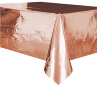 "METALLIC ROSE GOLD PLASTIC TABLECOVER RECTANGLE 137cm X 274cm (54"" X 108"")"