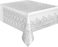 """WHITE LACE UNIQUE PLASTIC TABLECOVER RECTANGLE 137cm X 274cm (54"""" X 108"""")"""