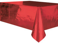 "METALLIC RED PLASTIC TABLECOVER RECTANGLE 137cm X 274cm (54"" X 108"")"