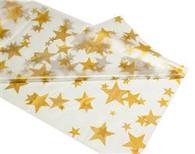 """CLEAR GOLD STARS METEOR PLASTIC TABLECOVER ROLL 122cm W X 30m L (48""""X100'"""