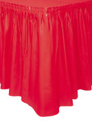 "RUBY RED PLASTIC TABLESKIRT 73cm X 4.3m (29""X14')"