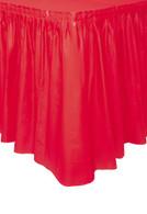 "RUBY RED PLASTIC TABLESKIRT 73cm X 4.3m (29""X14')"