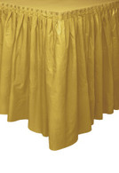 "GOLD PLASTIC TABLESKIRT 73cm X 4.3m (29""X14')"