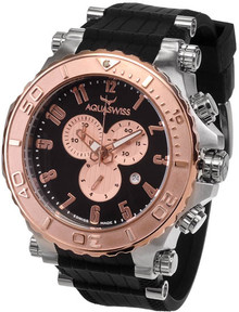 Aquaswiss Men's Rose Gold Tone Bezel Bolt Quartz Chronograph Rubber Strap 39XG087