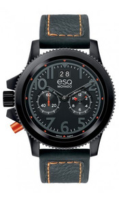 ESQ by Movado Men's Fusion Black PVD Chronograph with Silicon/Leather Strap Watch 07301423