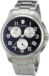 Swiss Army Men's Victorinox Officer Stainless Steel Case and Bracelet Chronograph Black Dial  241455