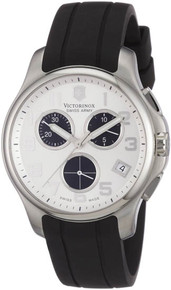 Swiss Army Men's Victorinox Officer Stainless Steel Case Chronograph Silver Dial Rubber Strap 241454