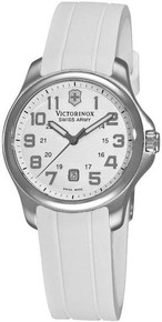 Swiss Army Ladies Stainless Steel Case White Dial Rubber Strap Date Display  241366