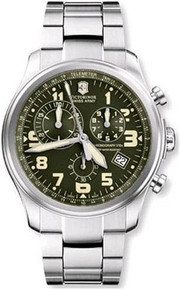 Swiss Army Men's Stainless Steel Quartz Chronograph Green Dial 241288