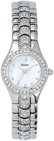 Bulova Ladies Stainless Steel Dress Mother Of Pearl Dial Crystals 96T14