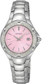 Seiko Ladies Stainless Steel Quartz Pink Dial Crystal SXDC53