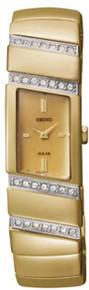 Seiko Ladies Solar Gold Tone Stainless Steel Case and Bracelet Gold Dial Swarovski Crystals SUP168