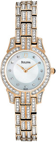 Bulova Ladies Rose Gold Tone Stainless Steel Quartz Mother of Pearl Dial Swarovski Crystals 98L155