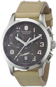 Swiss Army Ladies Alliance Chronograph Brown Dial Stainless Steel Case Brown Leather Strap 241320
