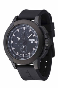 Ritmo Mundo Quantum II Stainless Steel and Black Aluminum Watch, 50mm