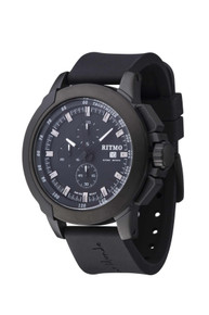 Ritmo Mundo Quantum II Collection Stainless Steel and Black Aluminum Watch, 43mm