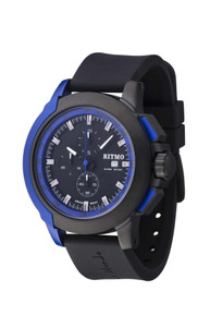 Ritmo Mundo Quantum II Collection Stainless Steel and Blue Aluminum Watch, 43mm