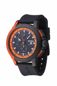 Ritmo Mundo Quantum II Collection Stainless Steel and Orange Aluminum Watch, 43mm