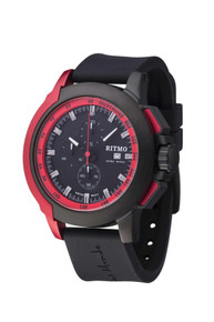 Ritmo Mundo Quantum II Collection Stainless Steel and Red Aluminum Watch, 43mm