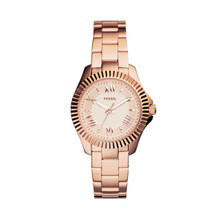 Fossil Ladies Cecile Small Three-Hand Stainless Steel Watch - Rose AM4611