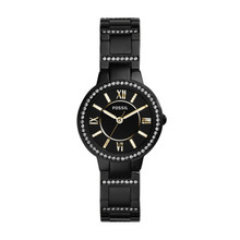 Fossil Ladies Virginia Three-Hand Stainless Steel Watch - Black ES3638