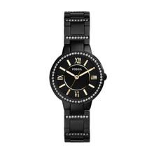 Fossil Ladies Virginia Three-Hand Stainless Steel Watch - Black ES3638
