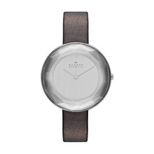 Skagen Gitte Faceted Glass Leather Watch SKW2274